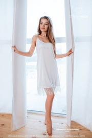 Tenderness | Two Sides Lace Silk Bridal Nightgown - StylishBrideAccs