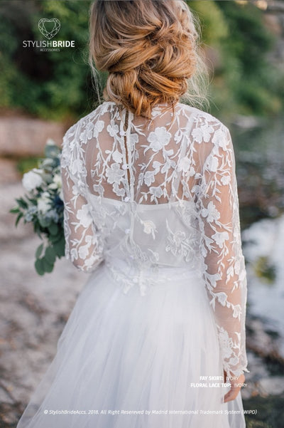 Trendy Floral Lace Wedding or Bridal Top - Flower Ivory or White Lace crop top - Bridal Separates Plus Size - StylishBrideAccs