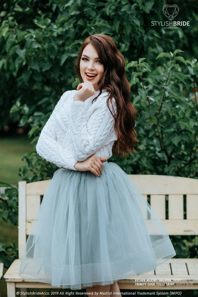 Trinity | Dusty Blue Skirt & Esther Ivory Sweater - StylishBrideAccs