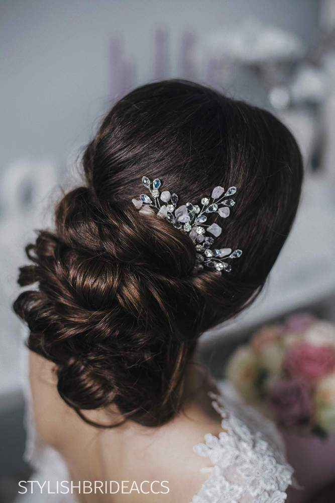 Violet | Wedding hair comb crystal rose quartz - StylishBrideAccs