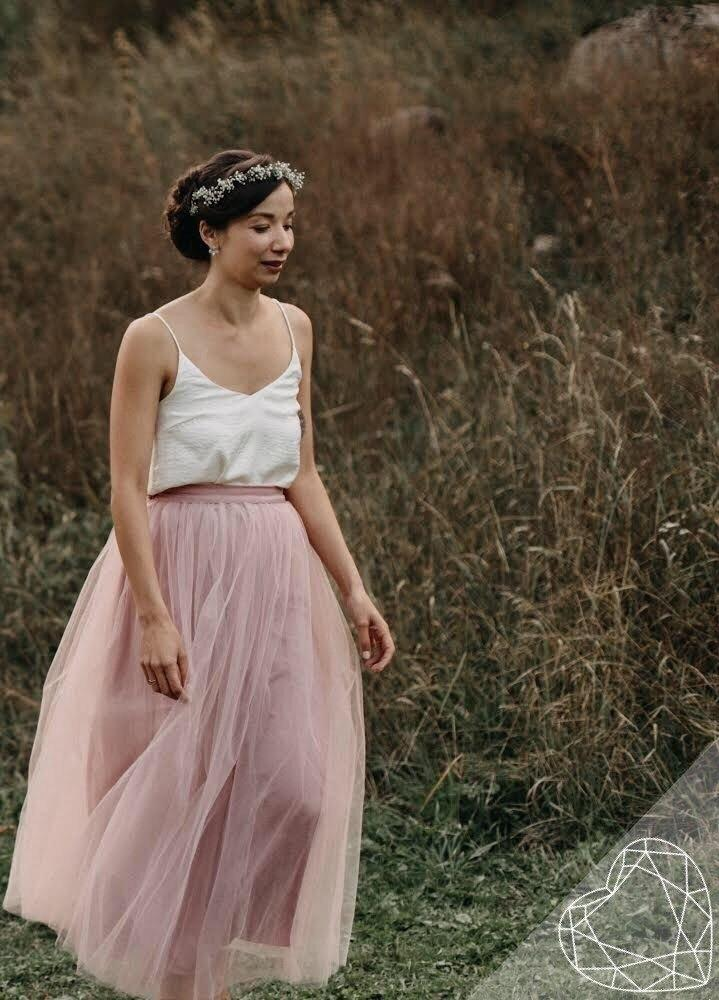 Waterfall | Blush Bridesmaids Skirt & Silk Top - StylishBrideAccs