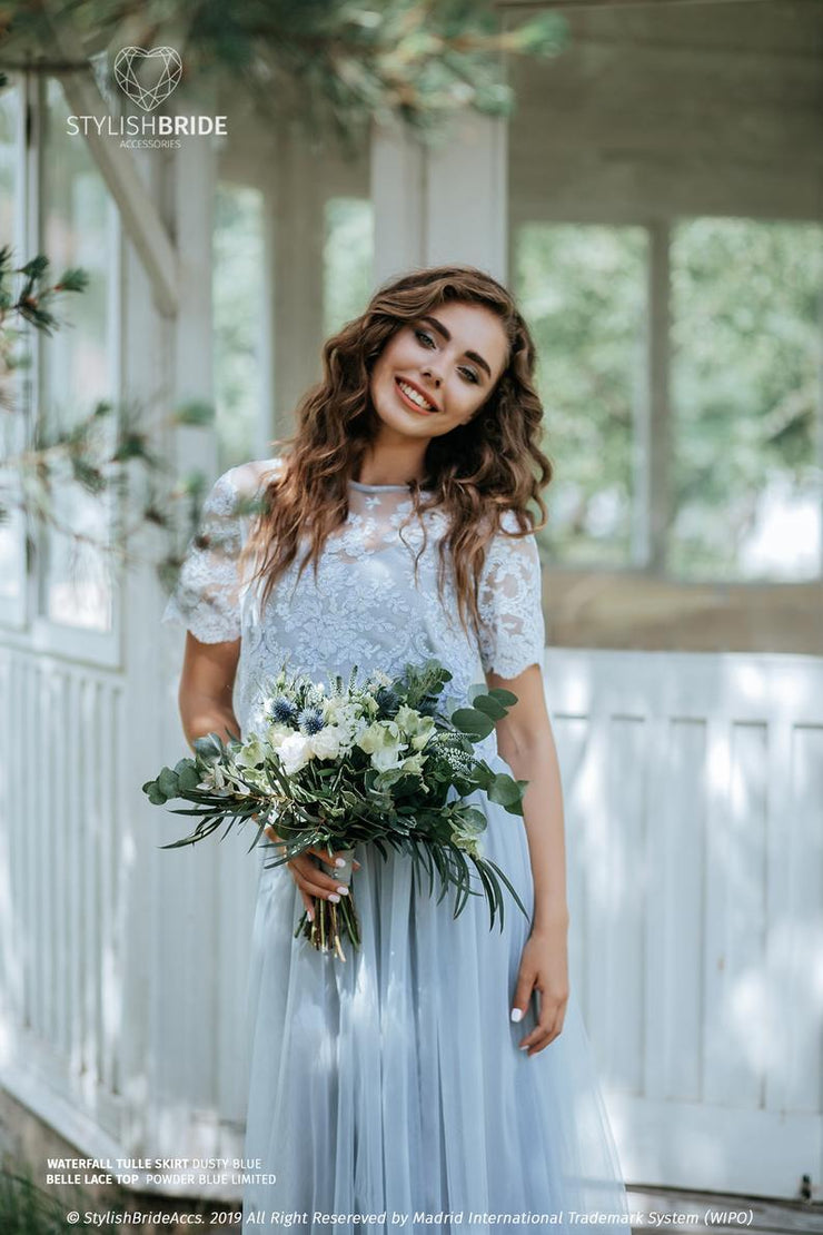 Waterfall | Dusty Blue Skirt and Belle Top - StylishBrideAccs