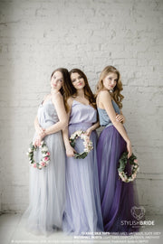 Waterfall | Light Grey Bridesmaid Skirt & Silk Top - StylishBrideAccs