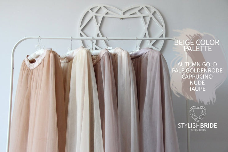 Waterfall | Nude Wedding Tulle Skirts - StylishBrideAccs