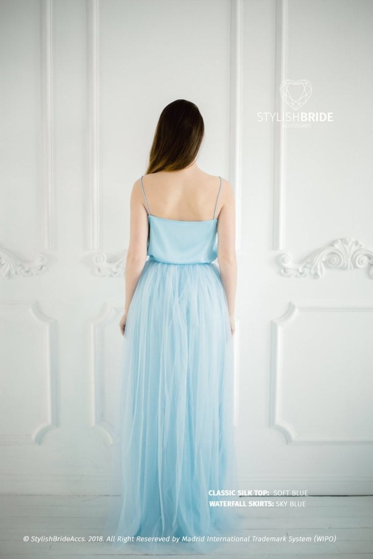Waterfall | Sky Blue Engagement Skirt & Silk Top - StylishBrideAccs