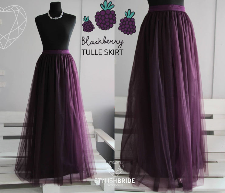 Waterfall | Tulle Blackberry Bridesmaids Skirt - StylishBrideAccs