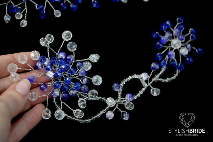 Wedding Blue Hair Vine Set of 2 for Bride and Bridesmaids, Crystals Hair Vine, Boho Hair Accessories, Bridal Blue Hair piece - StylishBrideAccs