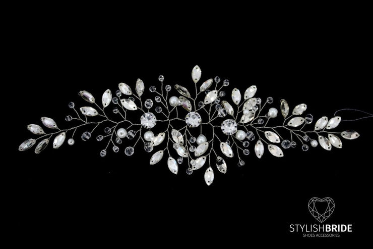 Wedding Crystal Hair Vine, Winter Hair Piece, Crystal Hair Accessories, Bridal Crystal Hair Vine, Bridal Hairpiece - StylishBrideAccs