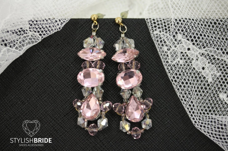 Wedding Crystal Pink Earrings, Bridal Pink Earrings, Handmade Bridal Earrings, Handmade Pink Earrings, Wire Wedding Earrings - StylishBrideAccs