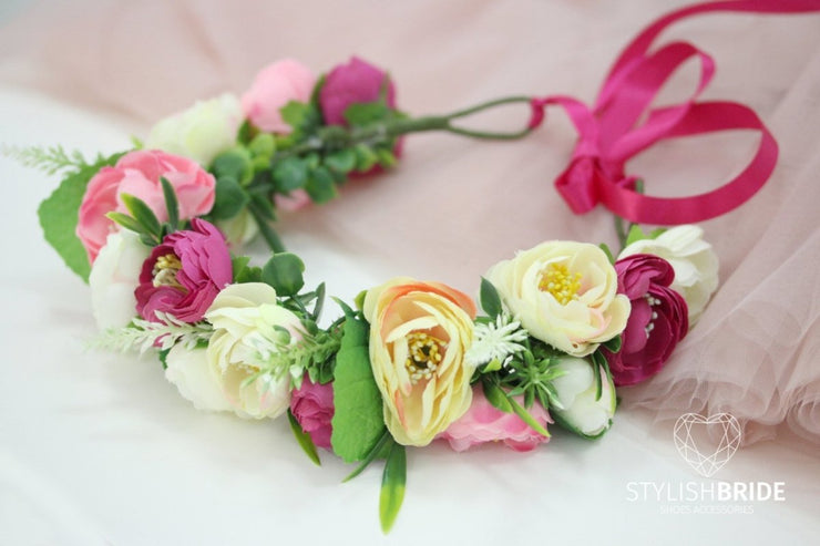 Wedding Flower Crown, Flower Bridal Hair Acessories, Bridal Hair Flower, Bridal Headband, Flower Wedding Hair Piece with Roses - StylishBrideAccs