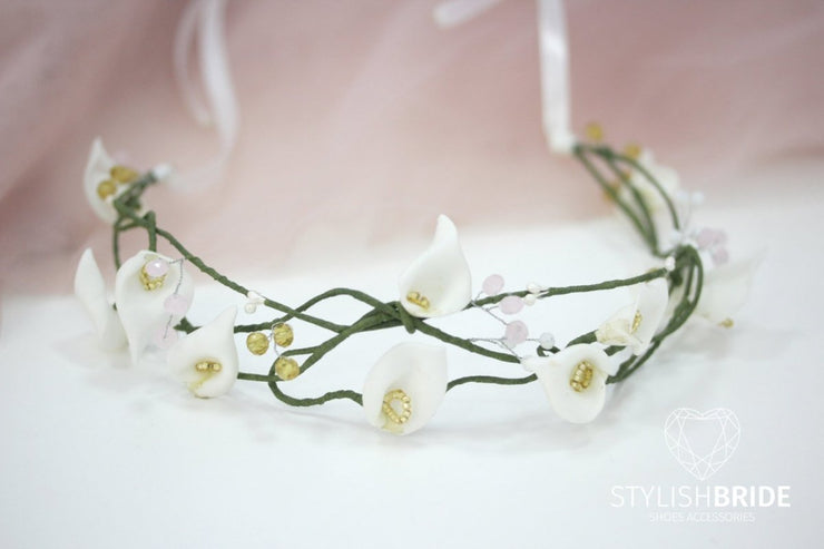 Wedding Flower Hair Vine, Bridal Flower Crown, Wedding headband, Bridal Flower White Hairpiece, Flowergirl white bridesmaides - StylishBrideAccs