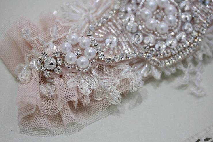 Wedding Garter 2018 Tulle Lace Set Blush, Pink Bridal Garter, Tulle Blush Garter, Tulle Blush Wedding Garter Set, Blush Wedding Garter Set - StylishBrideAccs