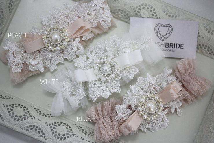 Wedding Garters 2018 Blush White and Peach, Tulle Bridal Garters, Bridal Wedding garters, Lace Bridal Garters - StylishBrideAccs