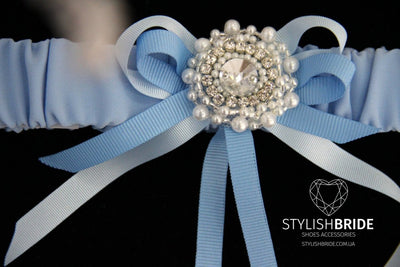 Wedding Garters Blue Satin, Satin Crystal Wedding Blue Garter, Wedding Blue Satin Garter, Satin Crystal Wedding Blue Garter, Wedding Garter - StylishBrideAccs