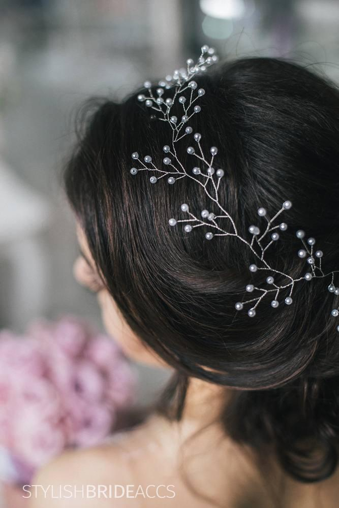 Wedding Gentle Pearl Hair Vine, Bridal Pearl Hair Vine, Pearl Hair Accessories, Pearl Vine, Bridal Pearl Hairpiece - StylishBrideAccs