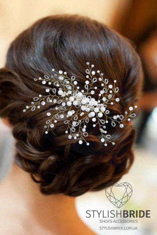 Wedding Gold Hair Vine, Gold Hair Vine, Pearl Hair Accessories, Pearl and Crystal Vine, Bridal Hairpiece - StylishBrideAccs