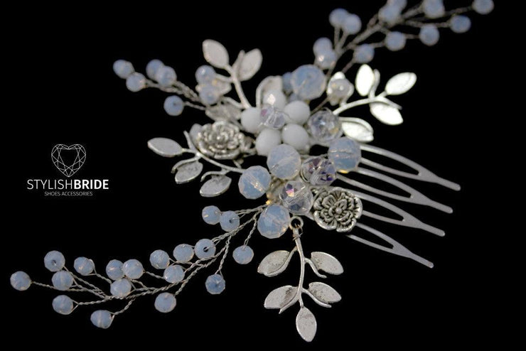 Wedding Hair Comb with metal leaves, Hair Comb, Wedding Hair Comb, Wedding Hair Accessories, Crystal Hair Comb, Bridal Hairpiece - StylishBrideAccs