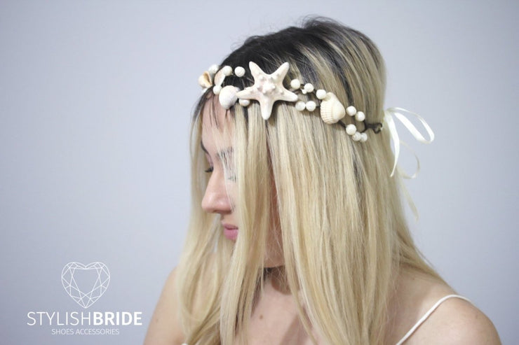 Wedding Hair Piece, Beach Bridal Crown Starfish, Bridal Headband, Beach Wedding Hair Vine, Wedding Hair Piece Beaded Tiara Starfish - StylishBrideAccs