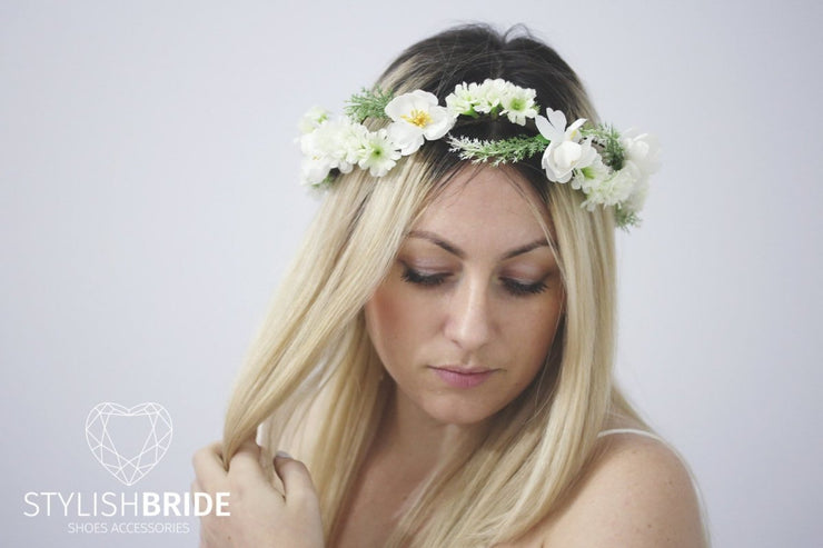 Wedding Hair Vine Flower Crown Wreath, Flower Hair Vine, Flower Crown, Green Bridal Headband, Wedding HairPiece, Bridesmaides Crown - StylishBrideAccs