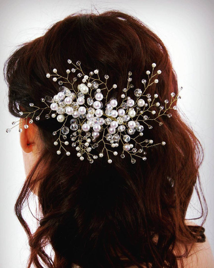 Wedding Hair Vine, Gold Hair Vine, Pearl Hair Accessories, Pearl and Crystal Vine, Bridal Hairpiece - StylishBrideAccs