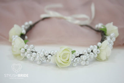 Wedding Hair Vine With Flowers And Pearls, White Flower Bridal Hair Vine, Flower White Wreath, Flower Wedding Headband, Bridal Hair Piece - StylishBrideAccs