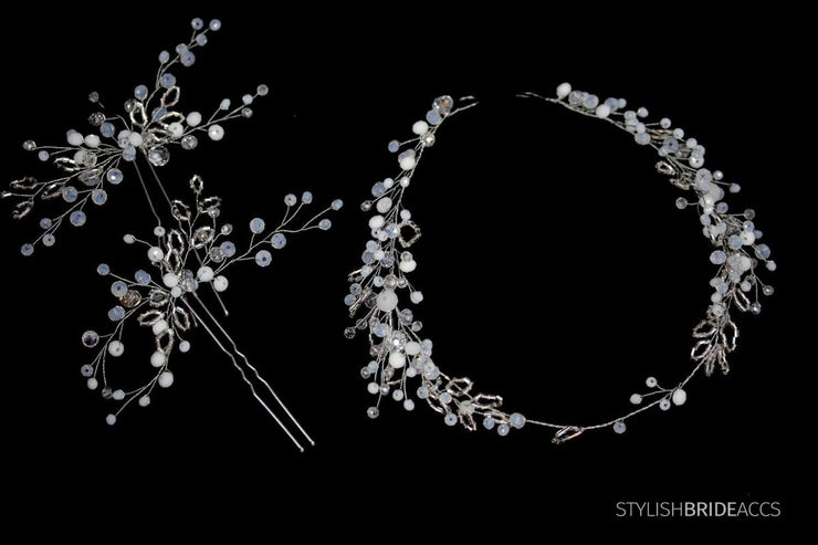 Wedding Moonstone Set Bridesmaids and Bride, Moonstone Hair Vine Gold Silver, Crystal Pearl Hair Accessories, Bridal Hair pieces set - StylishBrideAccs