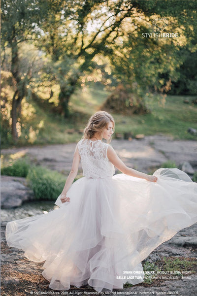 Wedding Ombre Waves Horsehair Dress Ivory & Biscuit Blush - Swan Engagement Tulle Skirt & Lace Top - Bohemian Long Maxi Luxury Dress - StylishBrideAccs