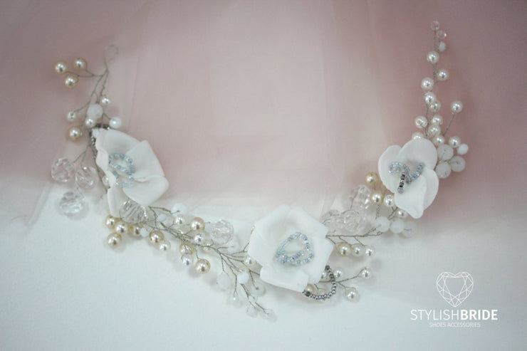 Wedding Pearl Crystal Hair Piece, Wedding Pearl Crystal Hair Vine, Pearl Crystal Hair Vine, Bridal Crystal Hair Piece, Crystal Wreath - StylishBrideAccs