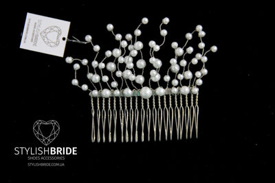Wedding Pearl Hair Comb, Hair Comb, Wedding Pearl Hair Comb, Hair Pearl Accessories, Crystal Pearl Comb, Bridal Pearl Hairpiece - StylishBrideAccs