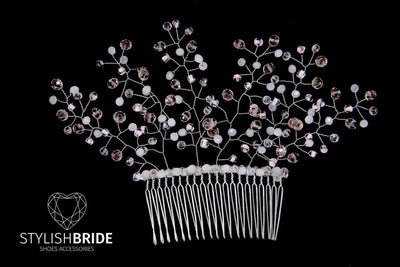 Wedding Pink Crystal Hair Comb, Hair Comb, Wedding Hair Comb, Hair Accessories, Crystal Comb, Bridal Pink Hairpiece - StylishBrideAccs
