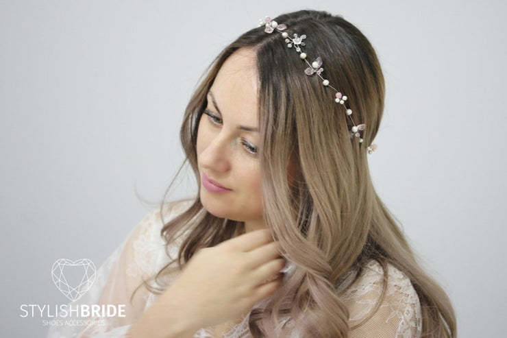 Wedding Pink Crystal Hair Vine, Gloss Hair Vine, Crystal Hair Hair Piece, Crystal Pink Vine, Bridal Hairpiece, Bridal Hair Vine - StylishBrideAccs