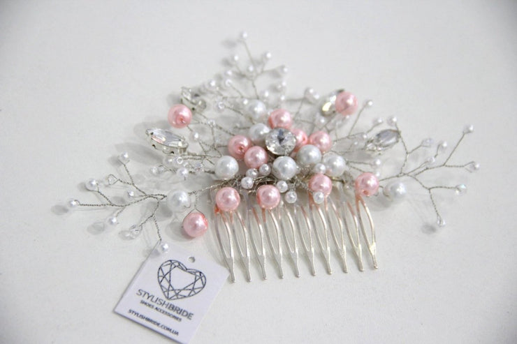 Wedding Pink Pearl Hair Comb, Hair Comb, Wedding Hair Comb, Hair Accessories, Crystal Comb, Bridal Hairpiece - StylishBrideAccs