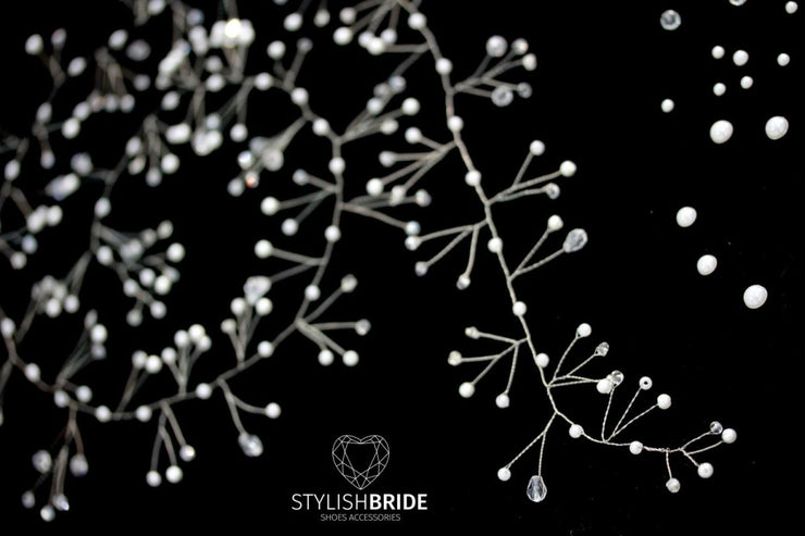 Wedding Super Extra Long Pearl Hair Vine 1-1.5 meters, Wedding Pearl Crystal Hair Vine, Pearl Crystal Hair Vine, Bridal Hairpiece - StylishBrideAccs