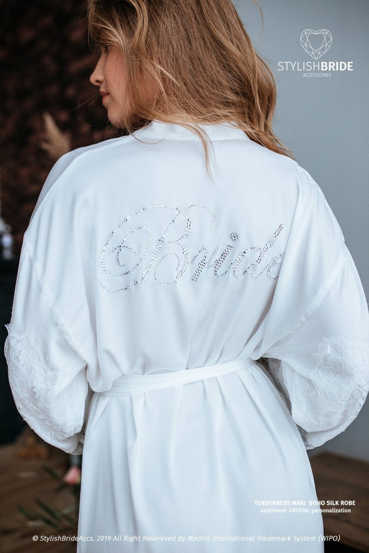 White Crystal Bridal Embellished Robe - StylishBrideAccs