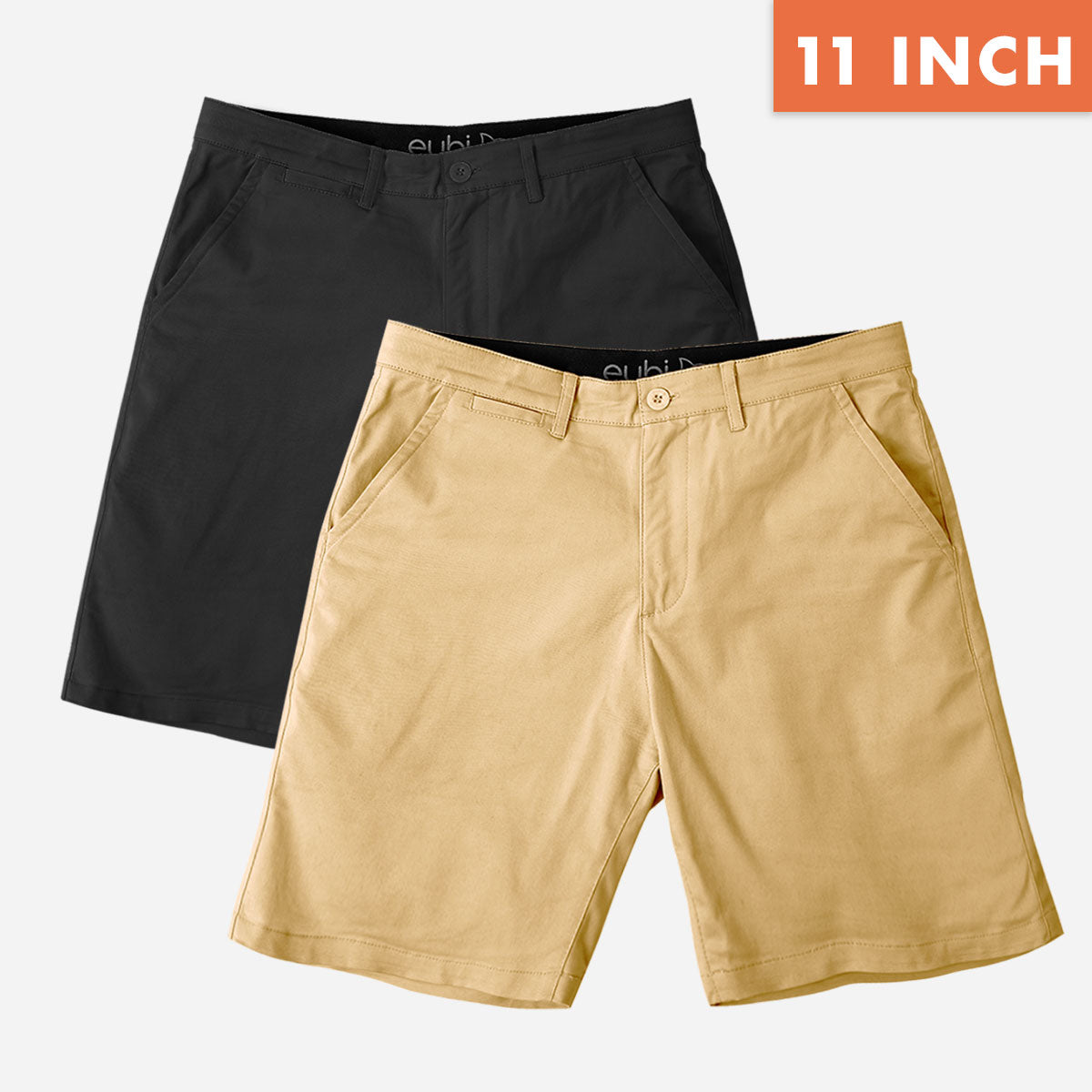 "11"" Black + Khaki All Day Chino Shorts Duo Pack"