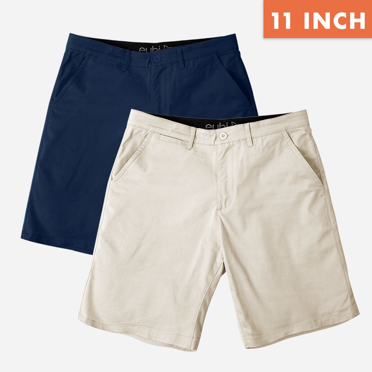"11"" Navy Blue + Sandy Brown All Day Shorts Chino Shorts Duo Pack"