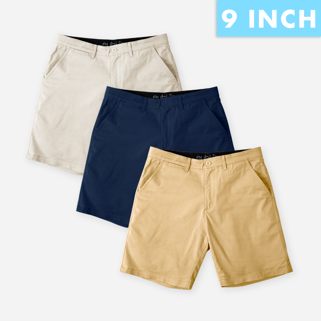 "9"" Sandy Brown + Navy Blue + Khaki All Day Shorts 2.0 (Stretch) Triple Packs"