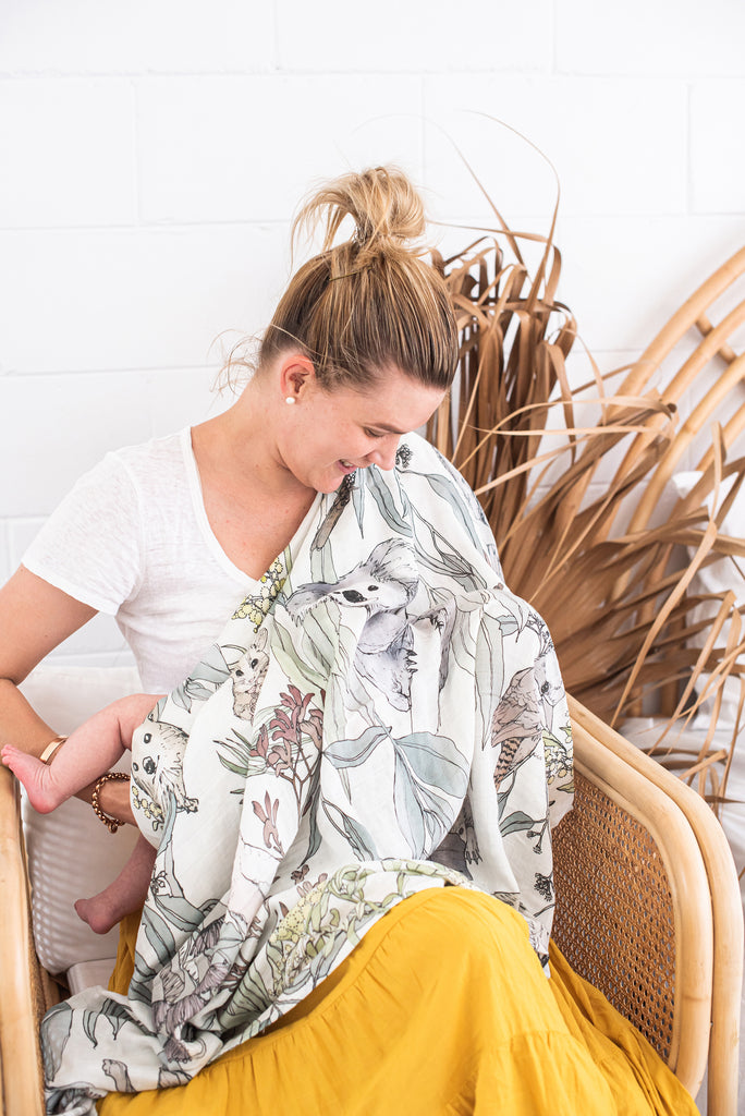 Australian Flora and Fauna Baby Swaddle Wrap as Nursing Cover