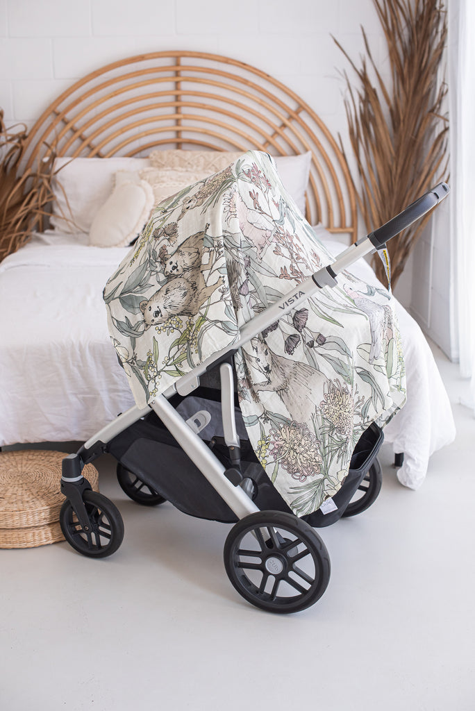 Australian Flora and Fauna Baby Swaddle Wrap as Pram Cover