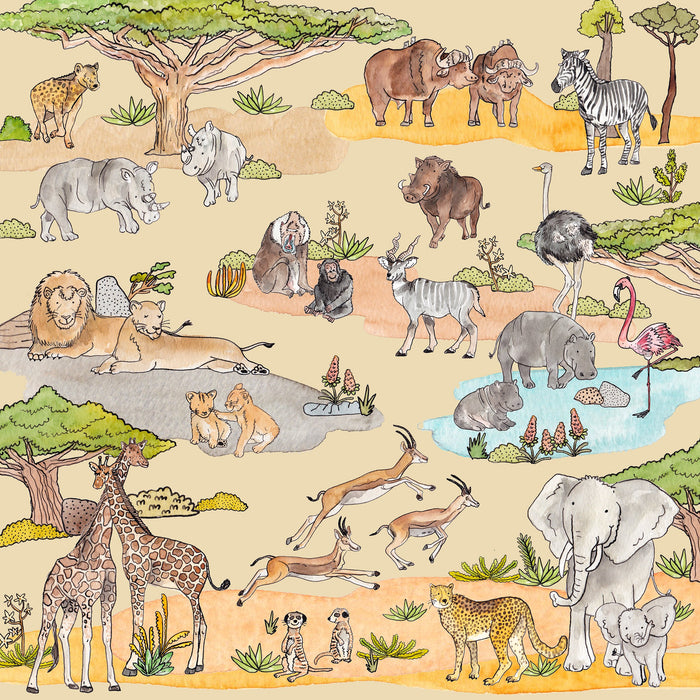 Safari Animals Swaddle Wrap Blanket | Bamboo and Organic Muslin Wrap