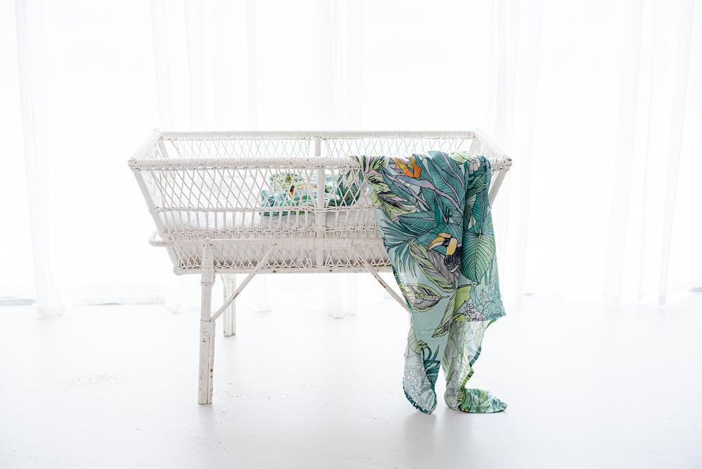 Lluie Jungle Animals and Plants Baby Muslin Swaddle Wrap Bamboo and Organic Cotton
