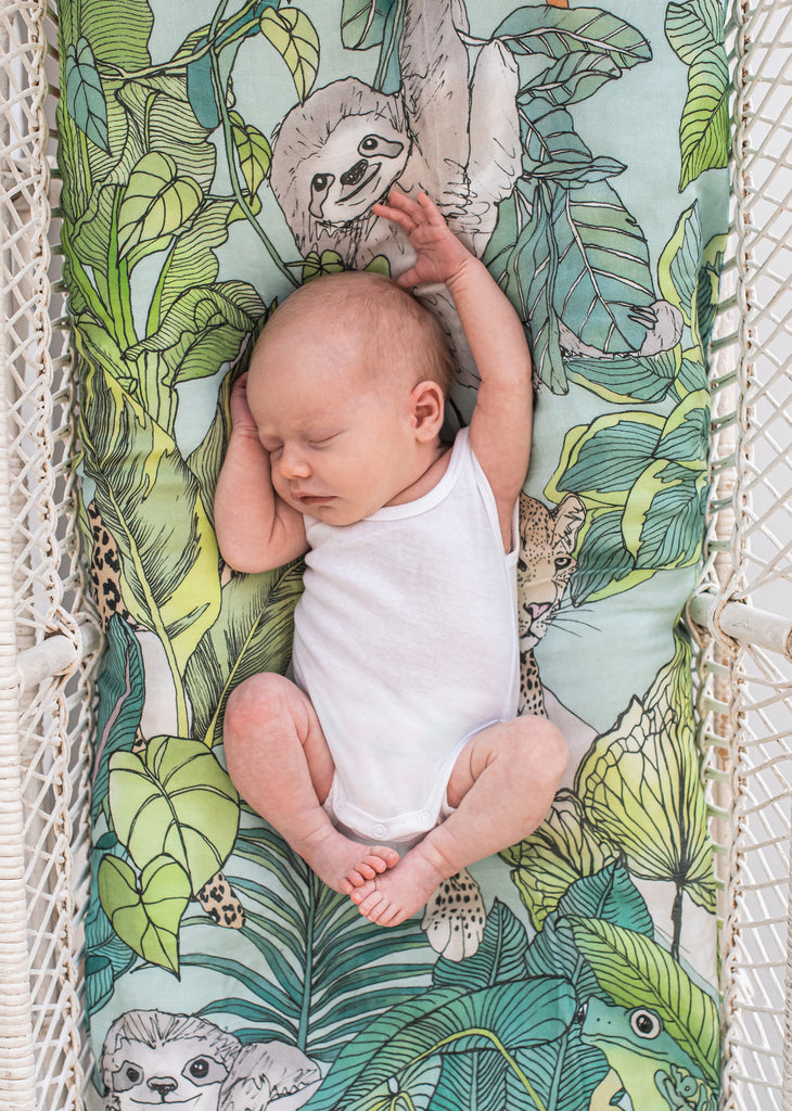 Jungle Swaddle Wrap as Bassinet Cover