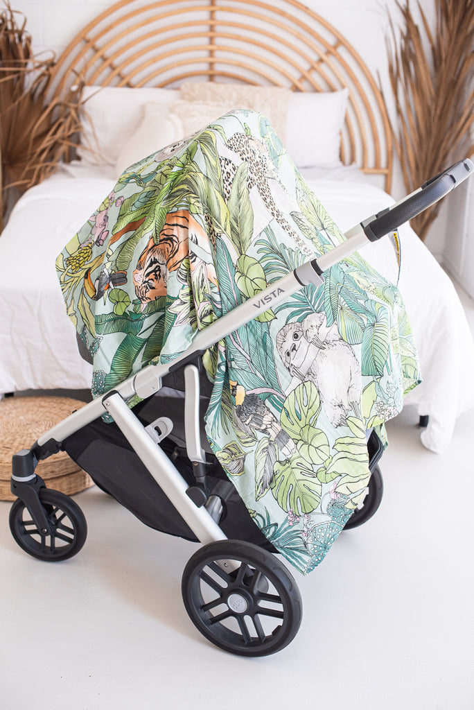Jungle Swaddle Wrap as Pram Cover