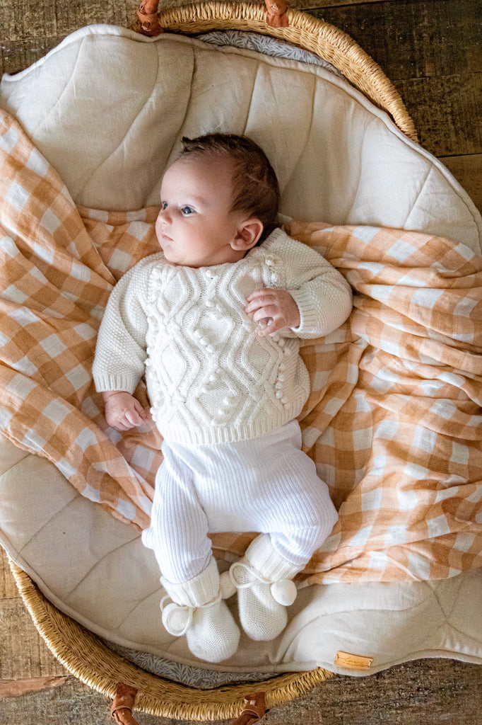 Savannah Gingham Baby Muslin Swaddle