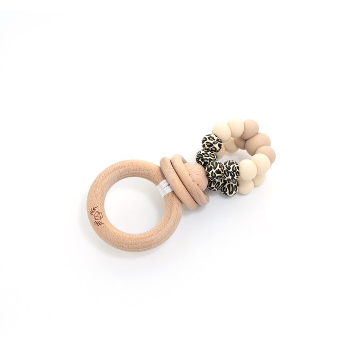 Ring Pop Mini Teething Rattle Leopard Cream