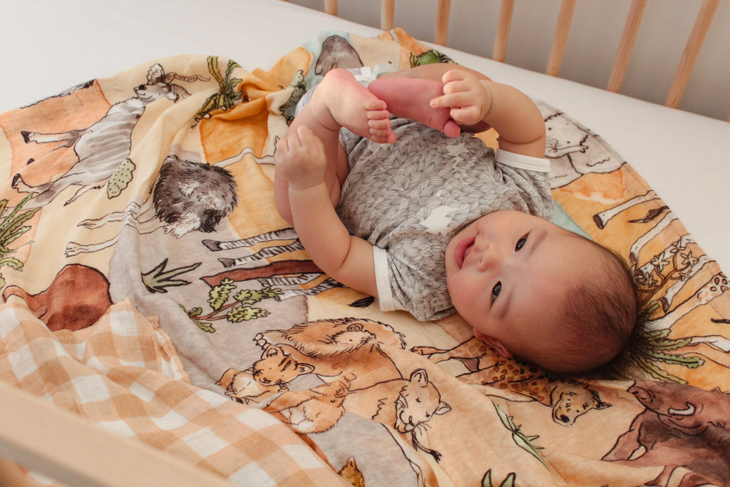 Lluie X Dawn Tan Savannah Baby Muslin Swaddle
