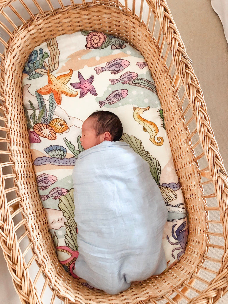 Ocean Marine Animals Swaddle Wrap Blanket | Bamboo and Organic Muslin Wrap