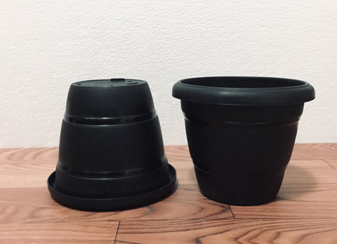 "terracotta 6"" pots (black)"