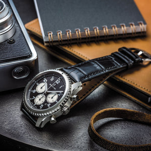 Breitling Navitimer 8 B01 with black dial and black alligator strap (AB011713)