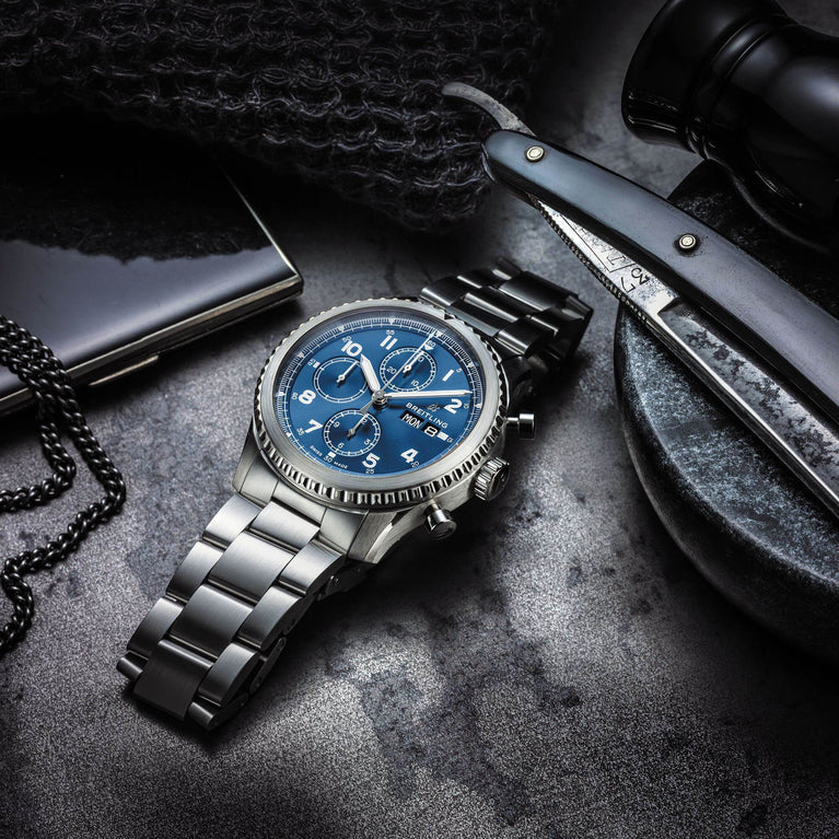 Breitling Navitimer 8 Chronograph. Stainless steel blue dial watch